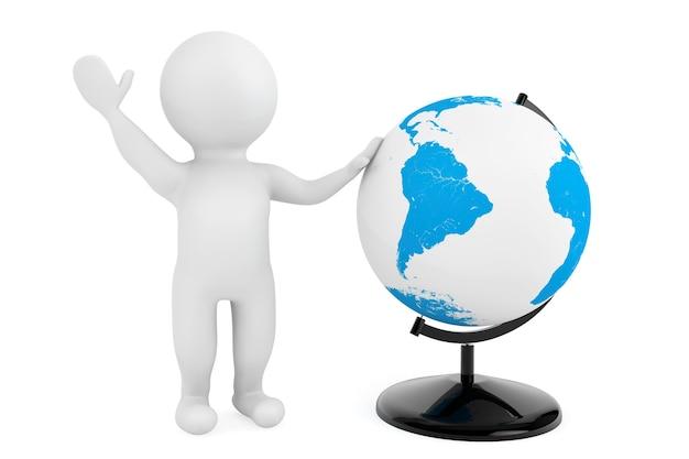 3d-persoon met bureau earth globe op een witte achtergrond