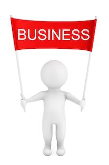 3d-persoon met business placard banner in handen op een witte achtergrond. 3d-rendering