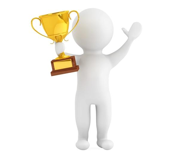 3d-persoon met een gouden trofee in handen op een witte achtergrond
