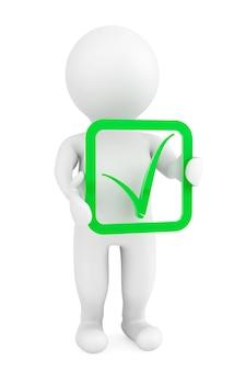 3d persoon met groen positief symbool in handen op een witte achtergrond