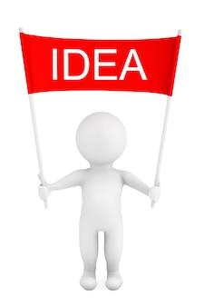 3d-persoon met idee plakkaat banner in handen op een witte achtergrond. 3d-rendering