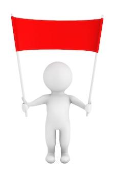 3d-persoon met lege rode plakkaat banner in handen op een witte achtergrond. 3d-rendering
