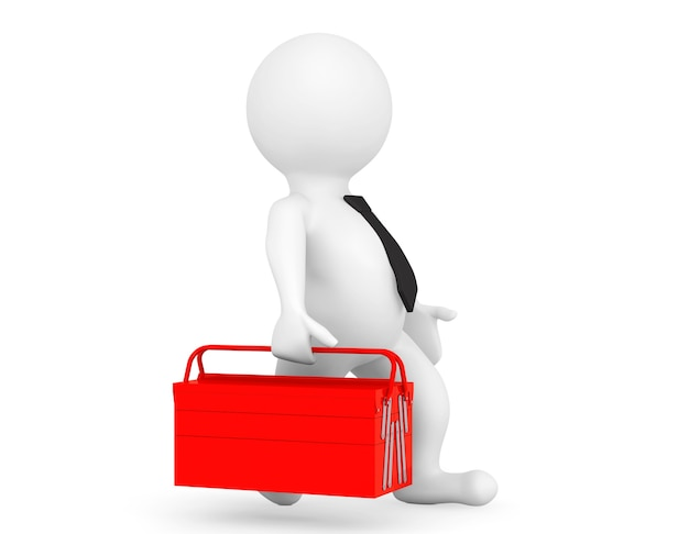 3d persoon met rode toolbox op een witte achtergrond