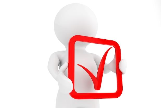 3d persoon met rood positief symbool in handen op een witte achtergrond