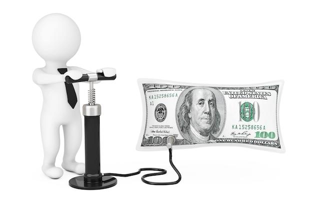 3d-persoon met zwarte hand luchtpomp blaast amerikaanse dollars ballon op een witte achtergrond. 3d-rendering