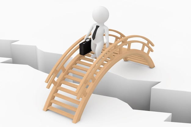 3d persoon zakenman crossing bridge over ground pit op een witte achtergrond. 3d-rendering