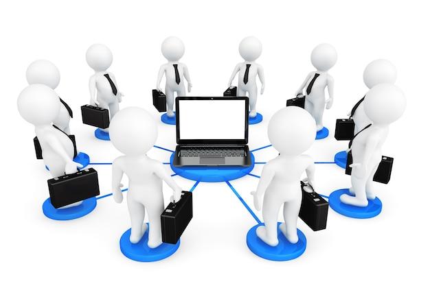 3d persoon zakenmans rond laptop op een witte achtergrond