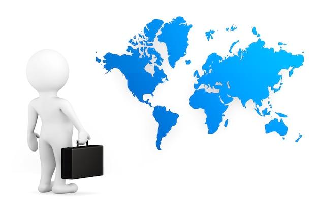 3d persoonszakenman met wereldkaart op een witte achtergrond