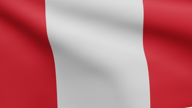 3d, peruaanse vlag die op wind golven. close up van peru banner waait, zacht en glad zijde. doek stof textuur vlag achtergrond