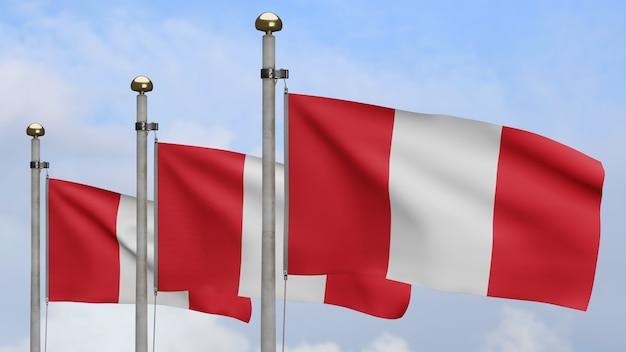 3d, peruaanse vlag zwaaien op wind met blauwe lucht en wolken. close up van peru banner waait, zacht en glad zijde. doek stof textuur vlag achtergrond