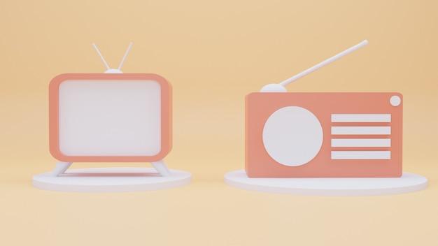 3d-pictogrammen tv en radio met cartoonstijl