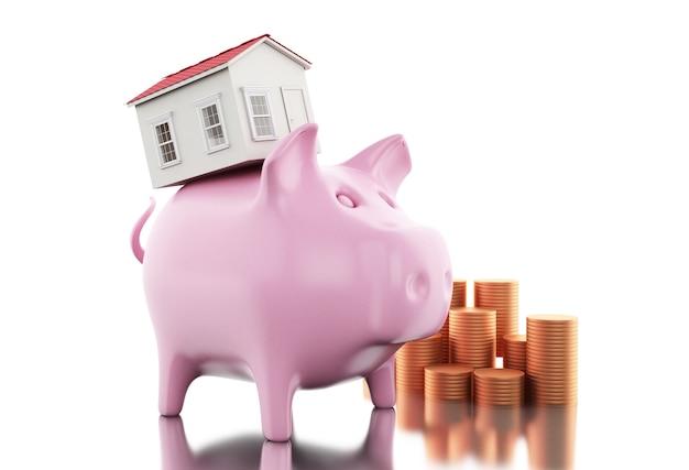 3d piggy bank met munten en huis.