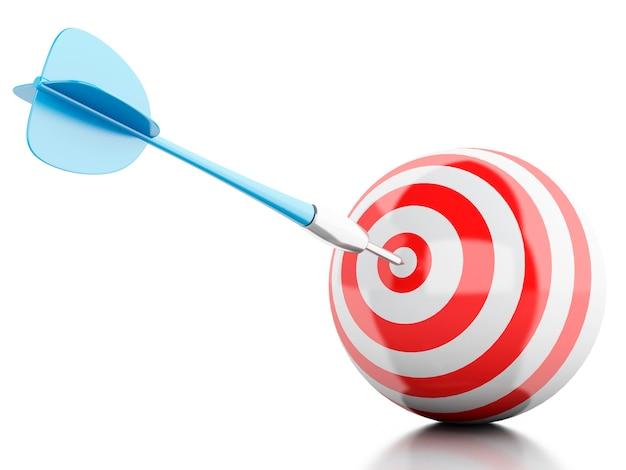 3d-pijl in doel. zakelijk en succes.