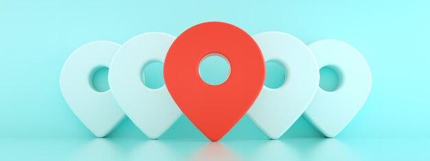 3d-pinnen met de eerste in het rood, locatiekaartsymbool 3d render over blauwe achtergrond panoramische mockup