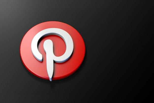 3d pinterest-logo minimalistisch met lege ruimte