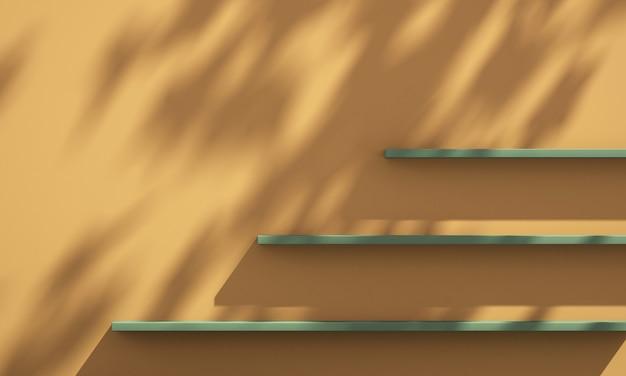 3d plank aan de muur met boomschaduw op groene en oranje achtergrond, zomerproduct mockup achtergrond, 3d render illustratie
