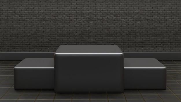 3d podium in donkere baksteen textuur achtergrond
