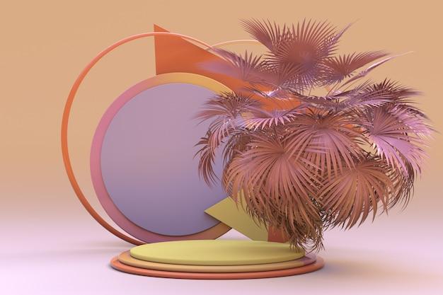 3d podium met abstract palm leeg voetstuk voor productpresentatie mockup geometrische vorm i