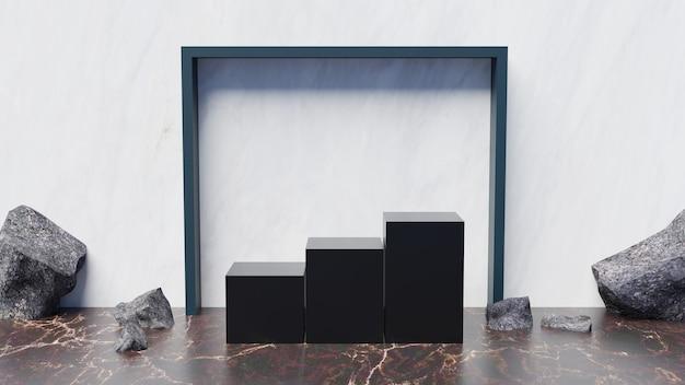 3d-podium met drie kubussen voor productweergave met stenen decoratie en lijstvierkant