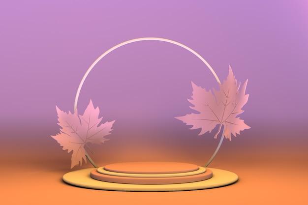 3d podium met herfstbladeren voetstuk voor productpresentatie abstracte achtergrond mockup presentation