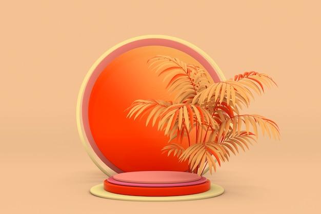3d podium met oranje palm leeg voetstuk voor productpresentatie