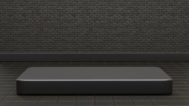 3d podium op donkere bakstenen achtergrond