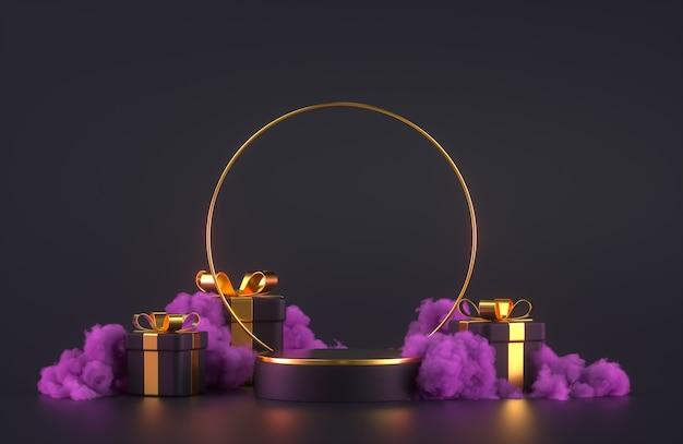 3d podiumscène met geschenkdozen