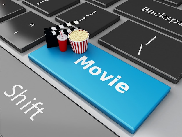 3d popcorn en bioscoopkleppenraad op computertoetsenbord.