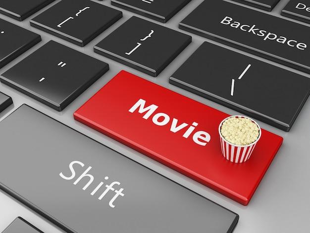 3d popcorn op computertoetsenbord.