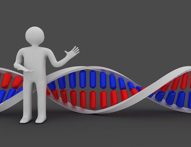 3d-presentatie van de dna-structuur. 3d-gerenderde afbeelding