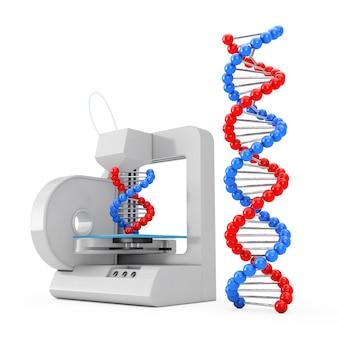 3d-printer druk de nieuwe dna-moleculen af op een witte achtergrond. 3d-rendering