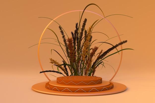 3d-productdisplay podiumstandaard met droge herfstplanten abstracte beige achtergrondscène