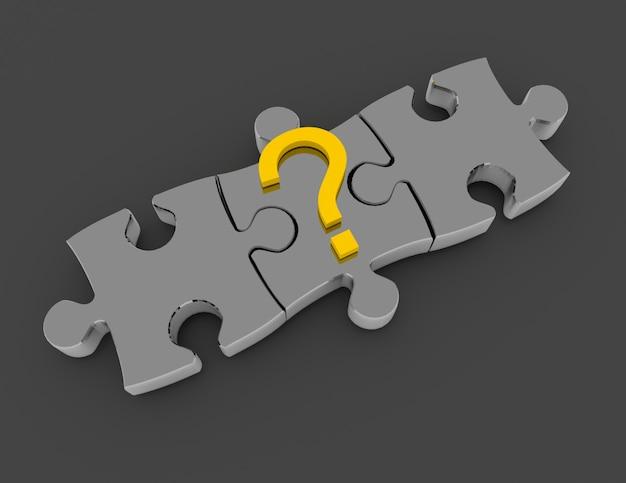 3d-puzzelconcept. oplossingsconcept. 3d-gerenderde afbeelding