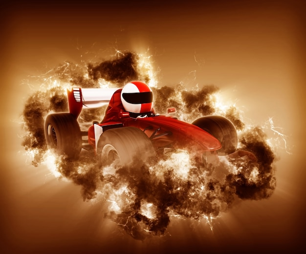 3d-racewagen met rook