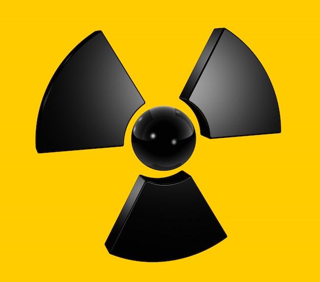 3d radioactief symbool dat op geel wordt geïsoleerd