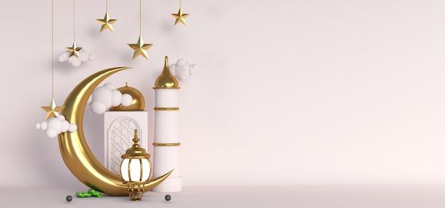 3d ramada islamitisch gouden halve maan ster concept