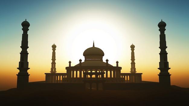 3d ramadan-achtergrond met moskee tegen een zonsonderganghemel
