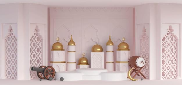 3d ramadan-elementenpodium in islamitische kamer