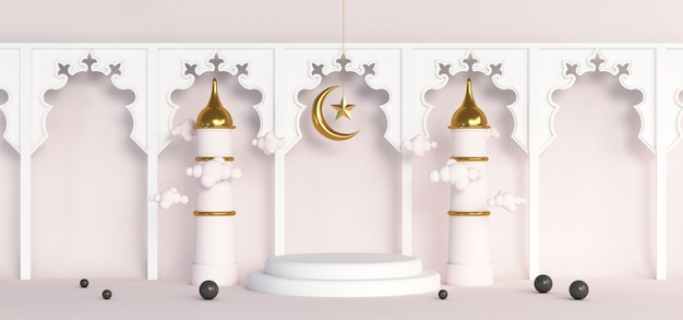 3d ramadan islamitische achtergrond podium goud