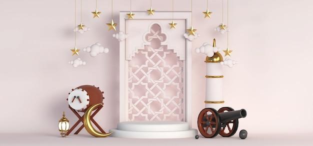 3d ramadan islamitische podiumachtergrond