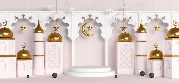3d ramadan luxe islamitisch gouden podium