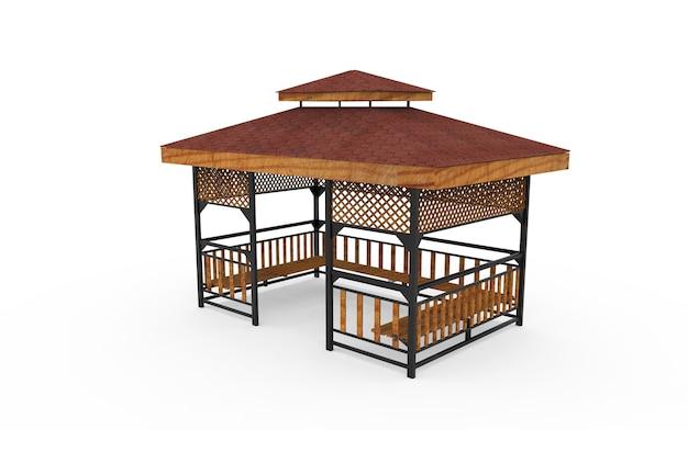 3d-realistisch een houten overdekte tuin bank vierkante camellia op witte achtergrond