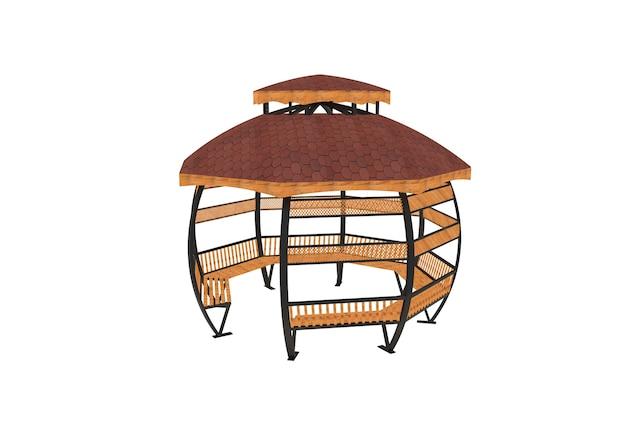 3d-realistisch een houten overdekte tuinbank ronde camellia op witte achtergrond