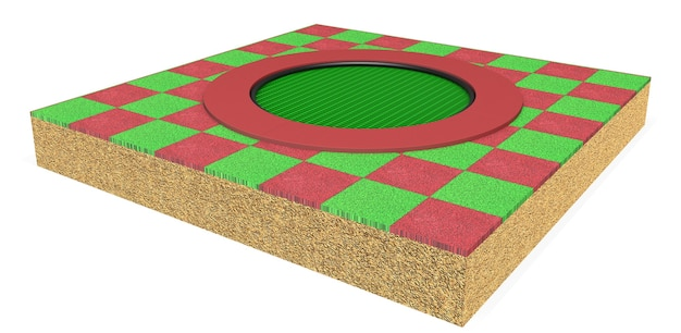 3d-realistische patroon circulaire trampoline apparatuur voor kinderen geïsoleerd op een witte achtergrond