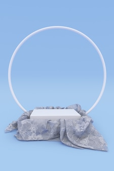 3d-realistische ronde podium bedekt met wit tule materiaal geïsoleerd op blauwe achtergrond. leeg voetstuk, staan. stof met draperie, ronde boog. verticaal