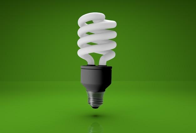 3d-realistische spaarlamp op groene achtergrond