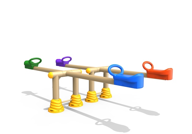3d-realistische speeltuin park dubbele kleurrijke wip voor kinderen geïsoleerd op een witte achtergrond
