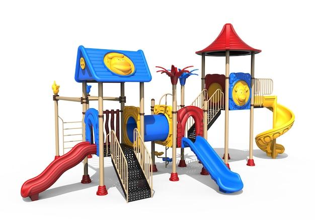 3d-realistische speeltuin park geïsoleerd op een witte achtergrond