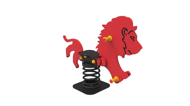 3d-realistische speeltuin park leeuw springer voor kinderen geïsoleerd op een witte achtergrond