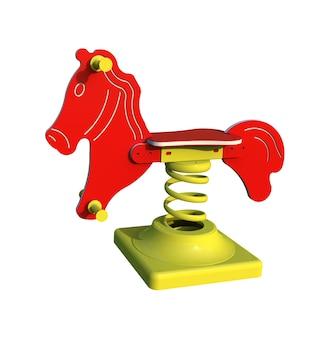 3d-realistische speeltuin park paard springer voor kinderen geïsoleerd op een witte achtergrond